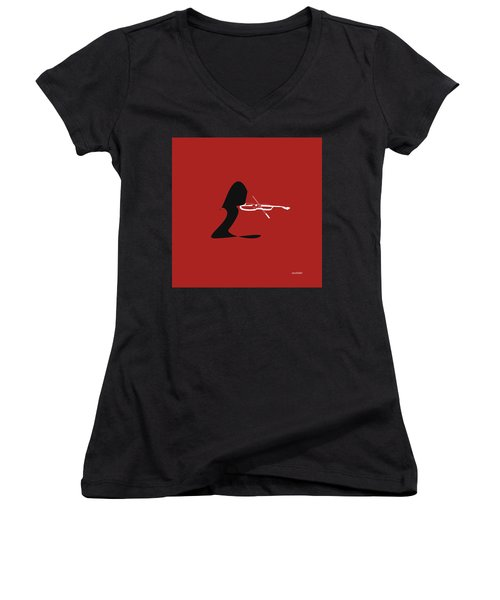 Women's V-Neck T-Shirt (Junior Cut) featuring the digital art Violin In Orange Red by Jazz DaBri