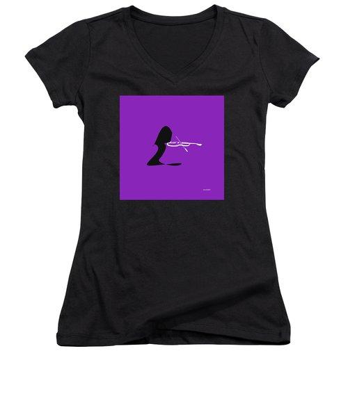 Women's V-Neck T-Shirt (Junior Cut) featuring the digital art Violin In Purple by Jazz DaBri