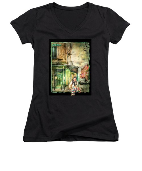 Violinist Evening Women's V-Neck T-Shirt
