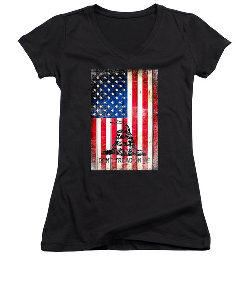 Viper On American Flag On Old Wood Planks Vertical Women's V-Neck T-Shirt (Junior Cut) by M L C