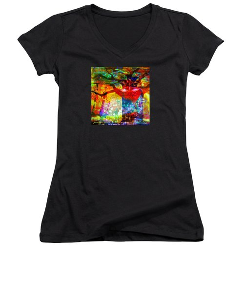 Women's V-Neck T-Shirt (Junior Cut) featuring the mixed media Vision The Tree Of Life by Fania Simon