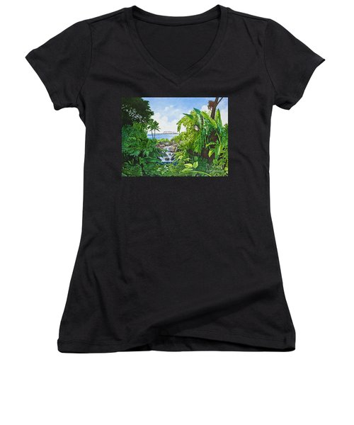 Women's V-Neck T-Shirt (Junior Cut) featuring the painting Visions Of Paradise Ix by Michael Frank