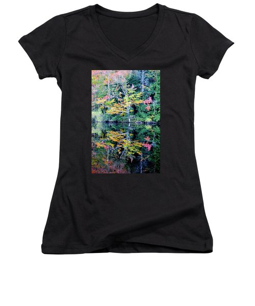 Vivid Fall Reflection Women's V-Neck