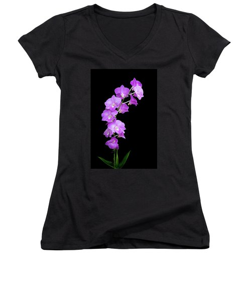 Vivid Purple Orchids Women's V-Neck (Athletic Fit)