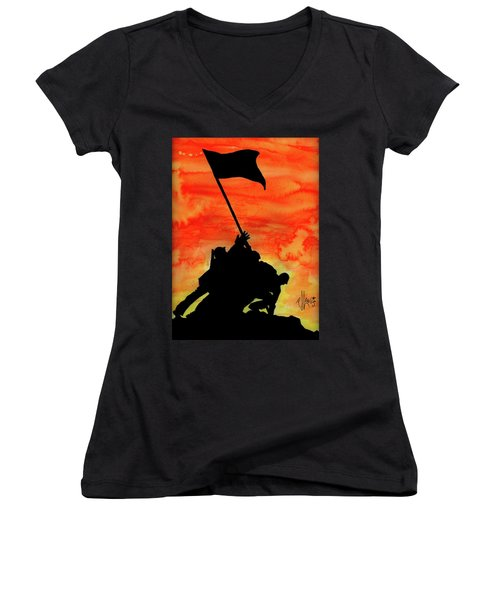 Women's V-Neck T-Shirt (Junior Cut) featuring the painting Vj Day by P J Lewis