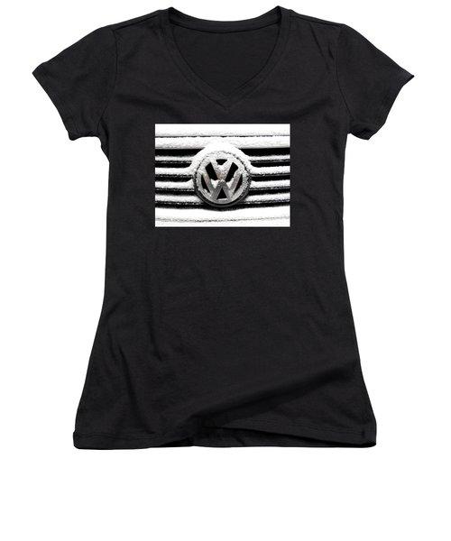Volkswagen Symbol Under The Snow Women's V-Neck T-Shirt