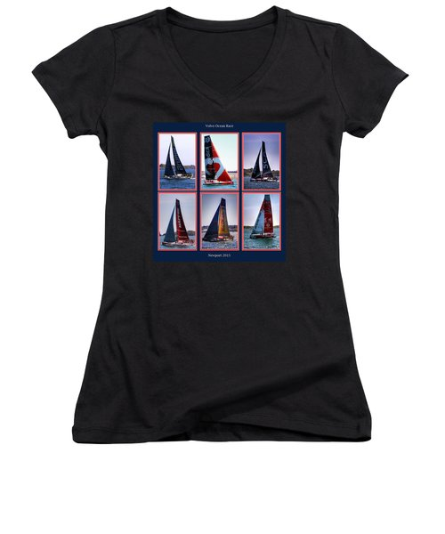 Volvo Ocean Race Newport 2015 Women's V-Neck T-Shirt (Junior Cut) by Tom Prendergast