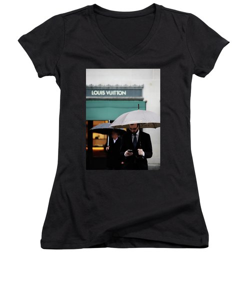 Women's V-Neck T-Shirt (Junior Cut) featuring the photograph Vuitton by Empty Wall