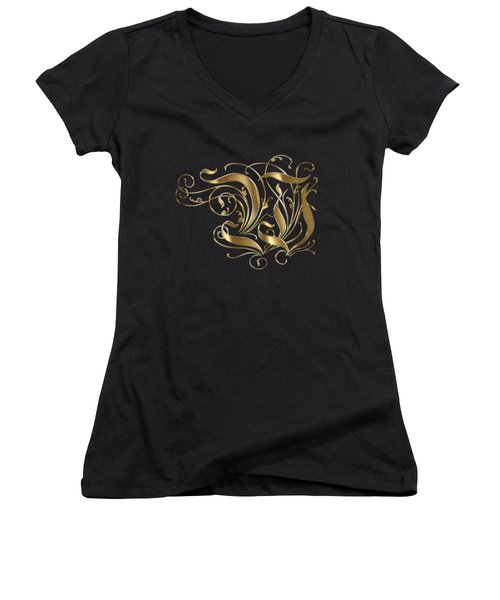 W Golden Ornamental Letter Typography Women's V-Neck T-Shirt