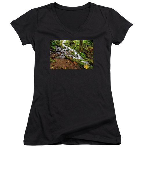 Women's V-Neck T-Shirt (Junior Cut) featuring the photograph Wahkeena Falls by Jonathan Davison