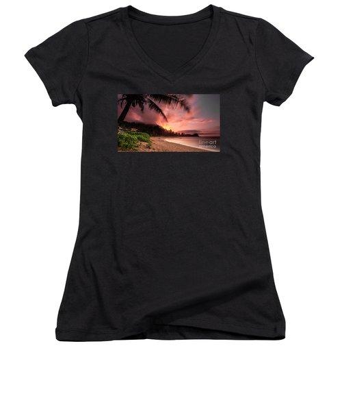 Wainiha Kauai Hawaii Bali Hai Sunset Women's V-Neck
