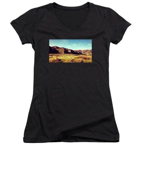 Wainui Hills Women's V-Neck T-Shirt (Junior Cut) by Joseph Westrupp