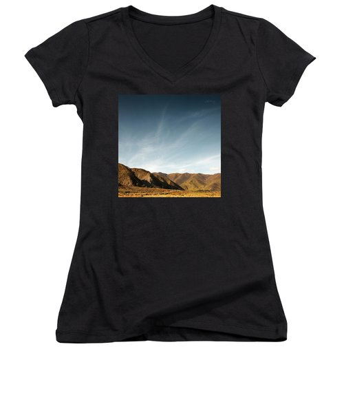 Wainui Hills Squared Women's V-Neck T-Shirt (Junior Cut) by Joseph Westrupp