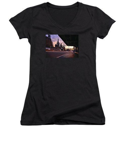 Women's V-Neck T-Shirt (Junior Cut) featuring the photograph Waitin' On The Bus by DJ Florek