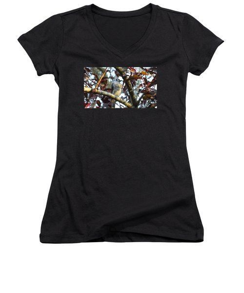 Waiting For Mom Women's V-Neck T-Shirt (Junior Cut) by Judy Wanamaker
