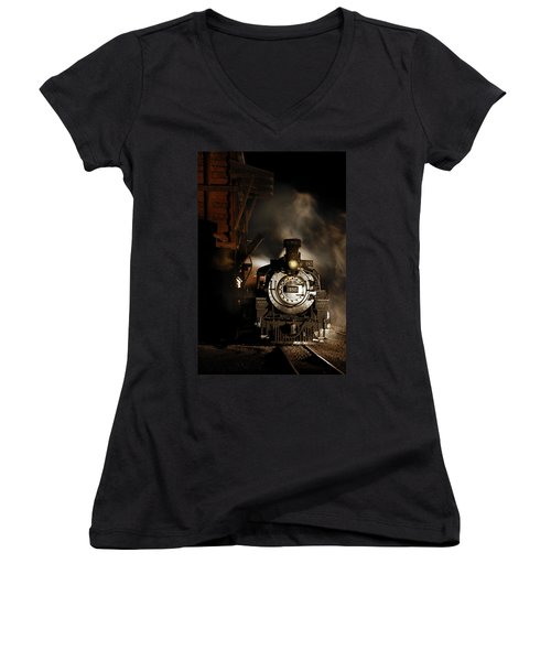 Waiting For More Coal Women's V-Neck T-Shirt (Junior Cut) by Ken Smith