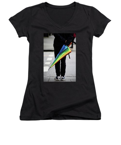 Women's V-Neck T-Shirt (Junior Cut) featuring the photograph Waiting For Superman  by Empty Wall
