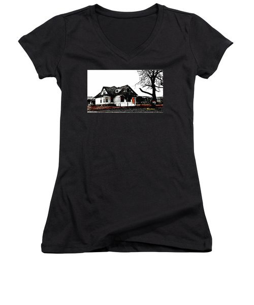 Women's V-Neck T-Shirt (Junior Cut) featuring the photograph Waiting For The Light by Sadie Reneau