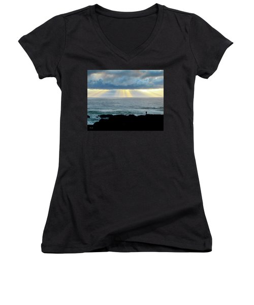 Waiting For The Rain. Women's V-Neck (Athletic Fit)