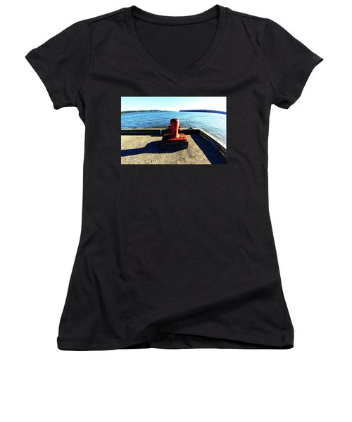 Waiting For The Ship To Come In. Women's V-Neck (Athletic Fit)