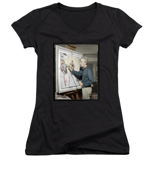 Women's V-Neck T-Shirt (Junior Cut) featuring the photograph Waiting For The Vet Norman Rockwell by Martin Konopacki Restoration