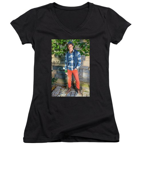 Young Man Waiting For You Women's V-Neck
