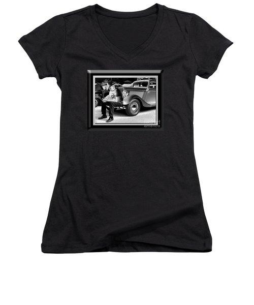 Waiting  Women's V-Neck T-Shirt (Junior Cut) by Sue Stefanowicz