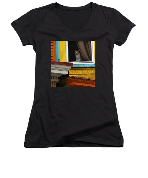 Waiting... Women's V-Neck T-Shirt (Junior Cut) by Yvonne Wright