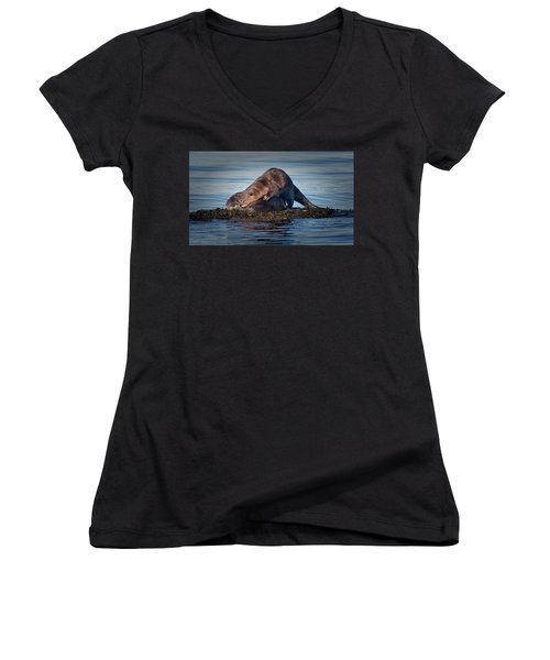 Women's V-Neck T-Shirt (Junior Cut) featuring the photograph Wake Up by Randy Hall