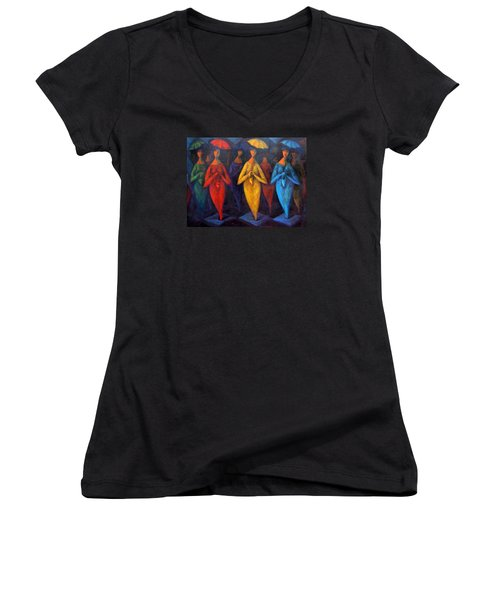Walking In The Rain Women's V-Neck T-Shirt