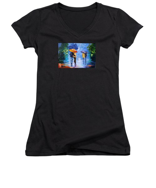 Walking In The Rain Women's V-Neck (Athletic Fit)