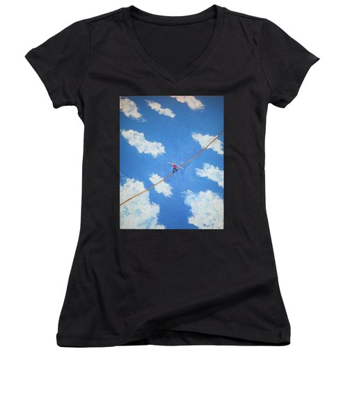 Women's V-Neck T-Shirt (Junior Cut) featuring the painting Walking The Line by Thomas Blood