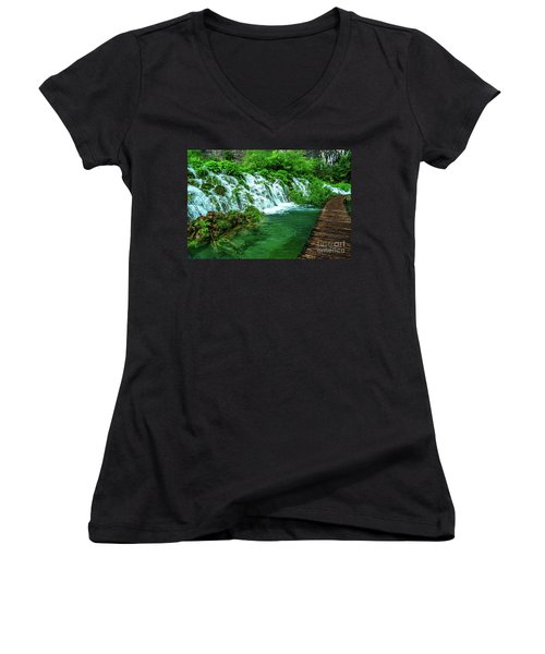 Walking Through Waterfalls - Plitvice Lakes National Park, Croatia Women's V-Neck