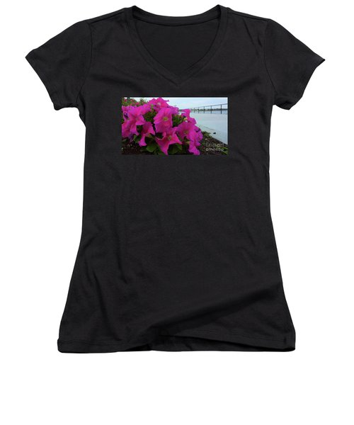 Walkway Petunias Women's V-Neck