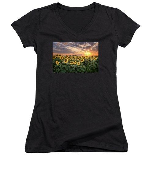 Wall Of Sunflowers Women's V-Neck