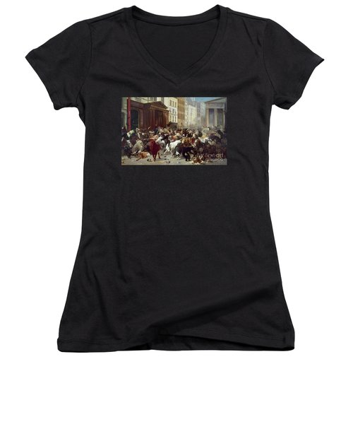 Wall Street: Bears & Bulls Women's V-Neck T-Shirt