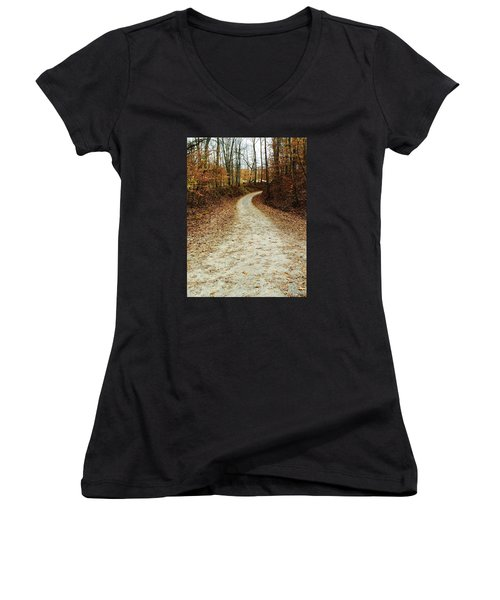 Wandering Road Women's V-Neck T-Shirt (Junior Cut) by Russell Keating