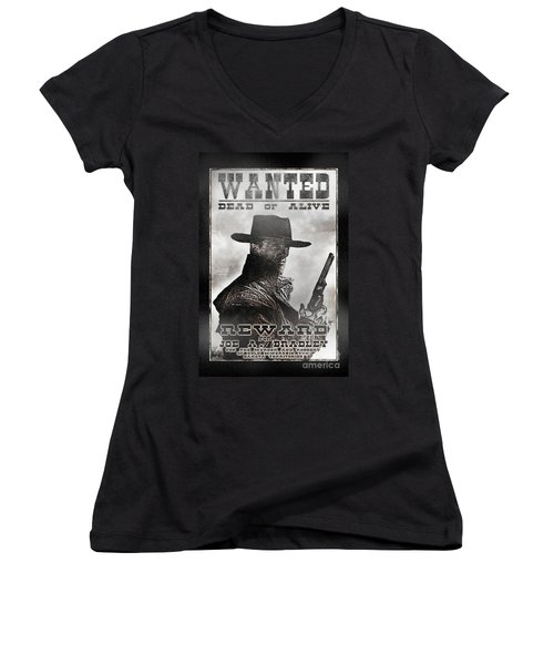 Wanted Poster Notorious Outlaw Women's V-Neck