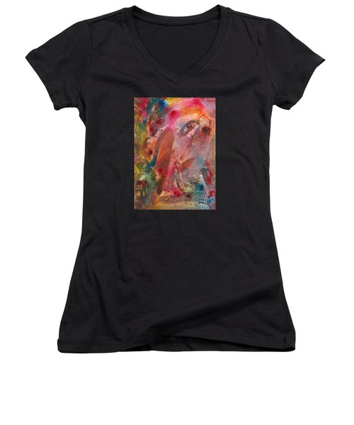 Wanting To See Or Not Women's V-Neck T-Shirt (Junior Cut) by Denise Hoag