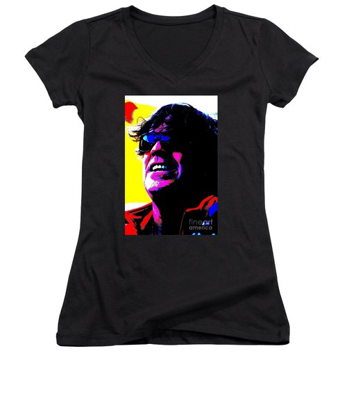 Warhol Robbie Women's V-Neck T-Shirt (Junior Cut) by Jesse Ciazza
