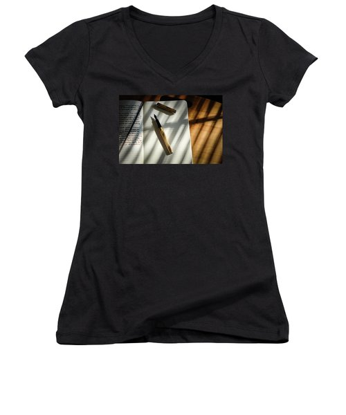 Women's V-Neck T-Shirt featuring the photograph Warm Gold Colors by Monte Stevens