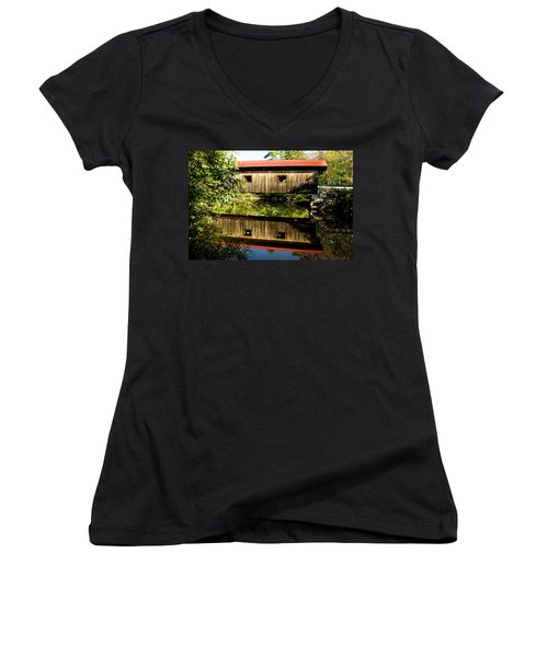 Warner Covered Bridge Women's V-Neck T-Shirt (Junior Cut) by Greg Fortier