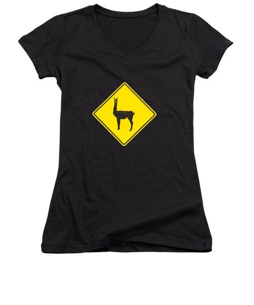 Warning Guanacos Women's V-Neck T-Shirt (Junior Cut) by Mirko Chianucci