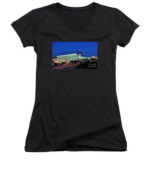 Washington Dulles International Airport At Dusk Women's V-Neck T-Shirt