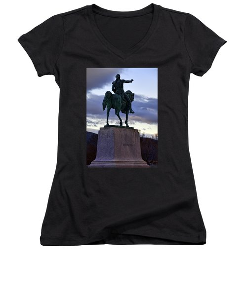 Washington Monument At West Point Women's V-Neck (Athletic Fit)