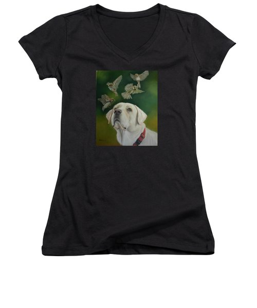 Women's V-Neck T-Shirt (Junior Cut) featuring the painting Watching Birds by Ceci Watson