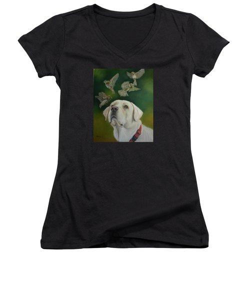 Watching Birds Women's V-Neck T-Shirt