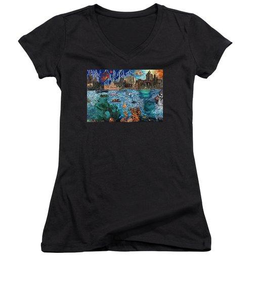 Water City Women's V-Neck T-Shirt (Junior Cut) by Emily McLaughlin