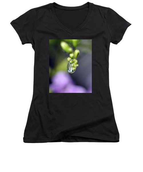 Women's V-Neck T-Shirt (Junior Cut) featuring the photograph Water Droplet Iv by Richard Rizzo