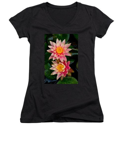 Water Lilies Women's V-Neck T-Shirt (Junior Cut) by Brent L Ander